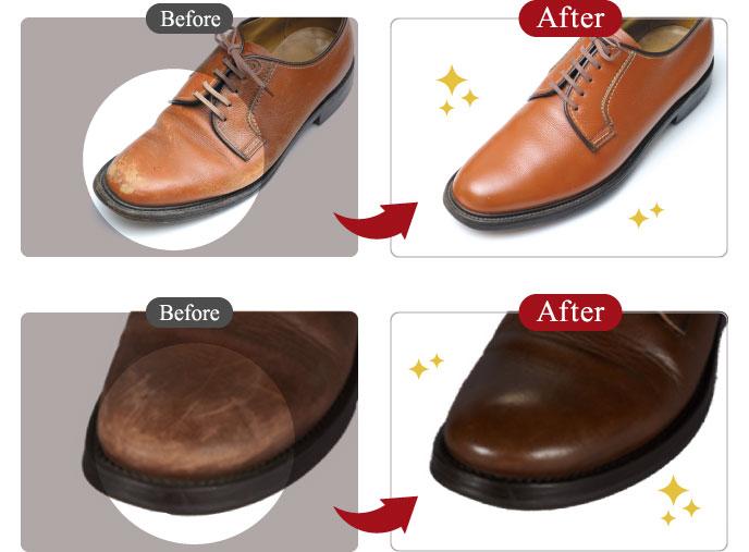 革靴のつま先は、スレなどのキズが目立ちます。 全体をクリーニングをした後に凹凸の補修、部分的な補色をすることで、 履きこんだ靴もよみがえります。